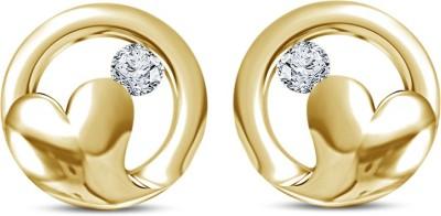 Kirati Round In Heart Shape Cubic Zirconia Sterling Silver Stud Earring