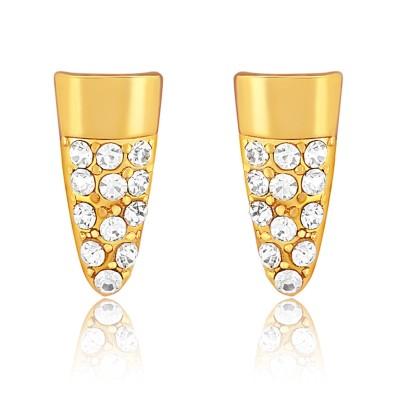 Oviya Elegant Embrace Crystal Brass, Alloy Stud Earring