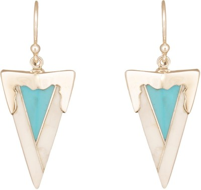 Mirror White Inverted Triangular Drops Turquoise Silver Drop Earring