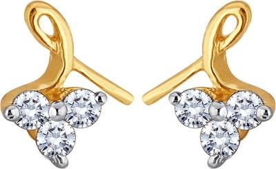 Glitz Design 0.18 Ctw Trio & Twist Yellow Gold 14kt Diamond Stud Earring