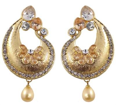 Hotpiper Designer Golden Cubic Zirconia, Pearl Alloy Chandbali Earring