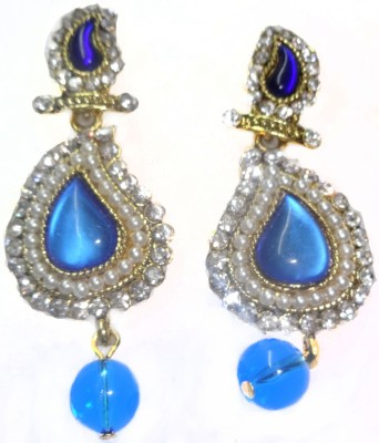 SB Fashions Light blue pearl diamond drops Brass Drop Earring
