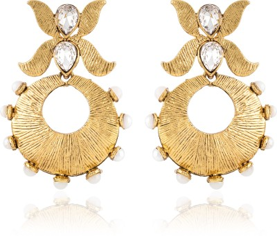Jewels Guru Diva Style Cubic Zirconia Copper Chandelier Earring