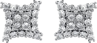 Om Jewells Starry Sparkle Square Cubic Zirconia Sterling Silver Stud Earring