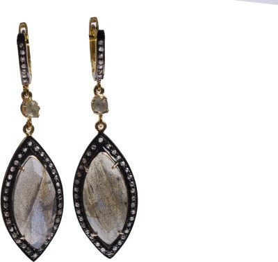 My DT Lifestyle Victorian Labradorite Yellow Gold Hoop Earring