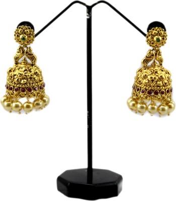 Bharat Sales Golden polished Bollywood Designer Cubic Zirconia Alloy Jhumki Earring