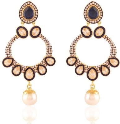 I Jewels Jaipur American Diamond Brass Chandbali Earring