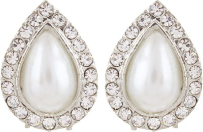 Gracent Silver Drop Shaped American Diamond Pearl Metal Stud Earring