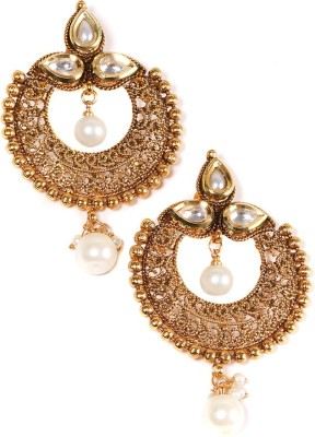 99HomeMart Traditional Work Pearl Alloy Chandbali Earring