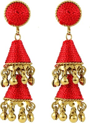 Harini Red Cone Shape Alloy Jhumki Earring