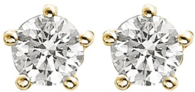 Dilan Jewels Round Brilliant Cut American Diamond Gold Plated Studs For Men And Women Sterling Silver Stud Earring
