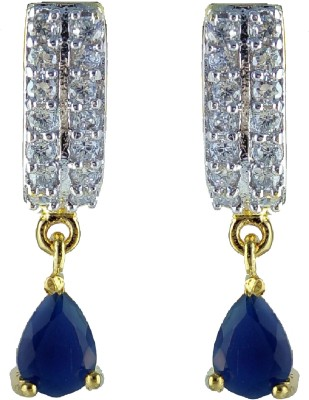 YUVEN Blue Color Zircon Alloy, Brass Drop Earring
