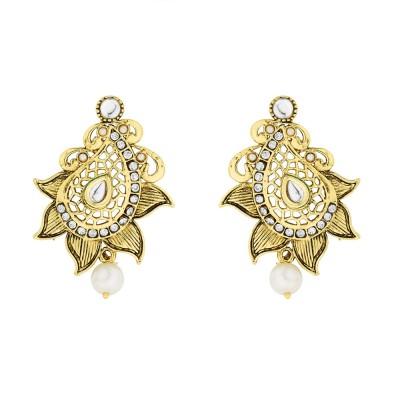 BeBold Drop Pearl Antique Brass Drop Earring