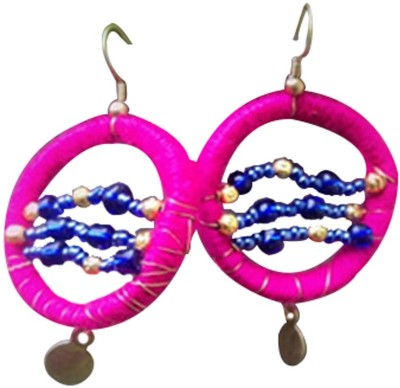 Ba No Batwo Magenta Rangakriti Cotton Dori, Plastic Dangle Earring