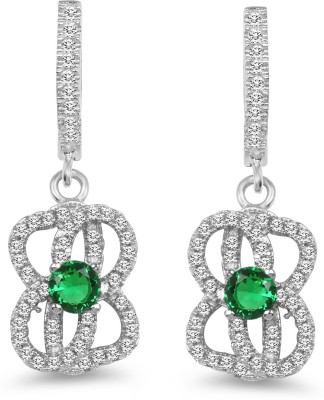 Johareez Beautiful Cubic Zirconia Sterling Silver Huggie Earring