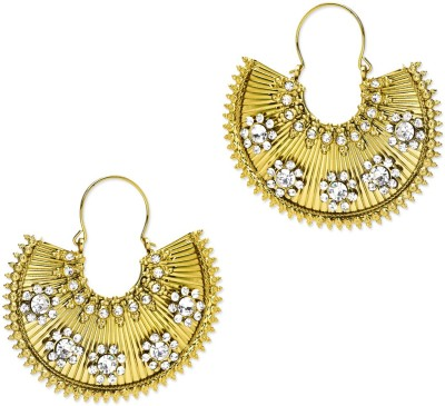 Trinketbag Gold and white sequenced glass beads Alloy Hoop Earring