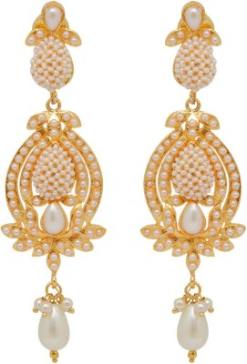 Jaipur Mart Silver Stone & Small Beads Work Paan Alloy Drop Earring