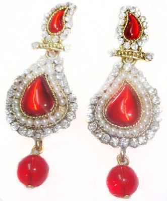 SB Fashions red pearl Brass Drop Earring