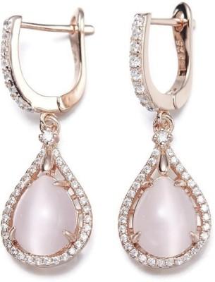 Nevi Designer Crystal, Zircon, Opal Silver, Crystal Hoop Earring