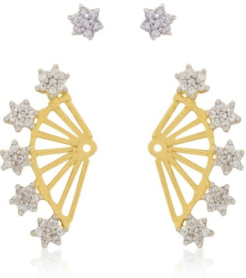 Vanity Roots Floral Spark Crystal Alloy Cuff Earring