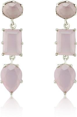 Aarohee Pink Sparkle Sterling Silver Drop Earring