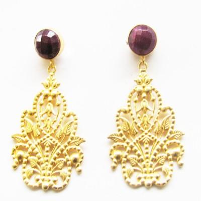 Gharaz semi precious Gold plated Ruby Brass Dangle Earring