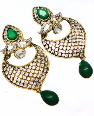 SB Fashions Dark Green Daimond earrings Brass Drop Earring