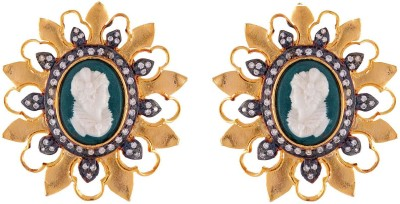 Enzy Antique Cameo Designer Green Alloy Stud Earring