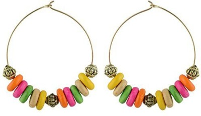 TrinketsANDTreasures Multi-Coloured Wooden Beaded Wood Hoop Earring