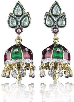 Treta Traditional Style Colorful Cubic Zirconia Sterling Silver Jhumki Earring
