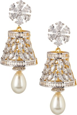 Swasti Jewels American Diamond AD Traditional Colourful Gift for Women Pearl Metal Drop Earring