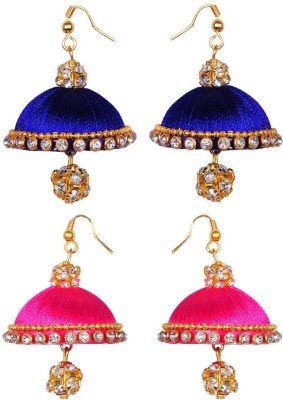 RK City Shopping SILK THREAD Fabric, Plastic Earring Set