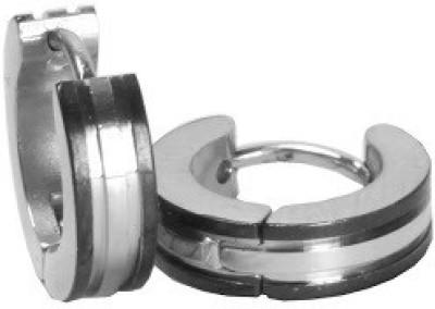 Shotshop Black Silver Touch Stainless Steel Huggie Earring
