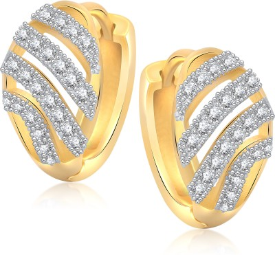 VK Jewels Well Crafted Cubic Zirconia Alloy Huggie Earring