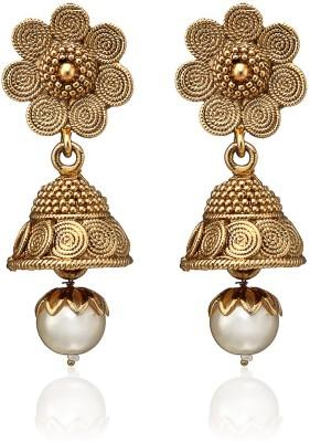 Arum Golden Alloy Jhumki Earring