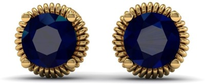 R S Jewels Creative Designs Yellow Gold 18kt Diamond, Sapphire Stud Earring