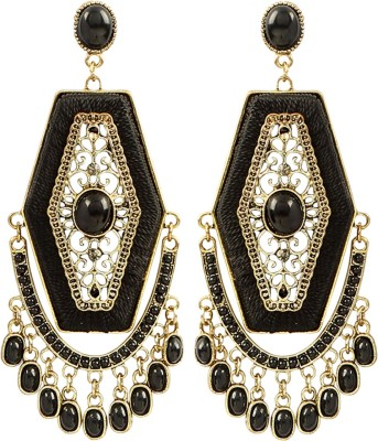 Jewel Funk Black Coloured with intricate gold work Alloy Dangle Earring