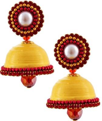 RR ENTERPRISES Hancrafted Single Stud Yellow Jhumka Paper Jhumki Earring