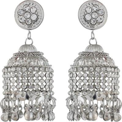 The Gallery Stunning White Jhumka Zircon Alloy Jhumki Earring
