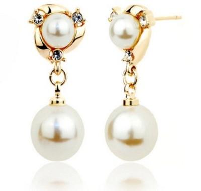 Stile Double Pearl Crystal Dangle Earring