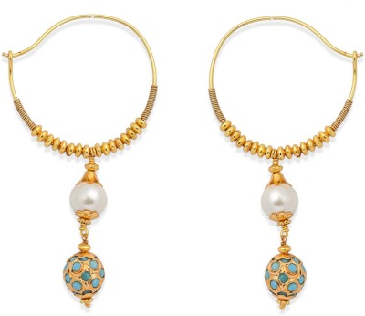 Ijuels Fashionable Sparkle Delight Pearl, Turquoise Brass, Alloy Hoop Earring