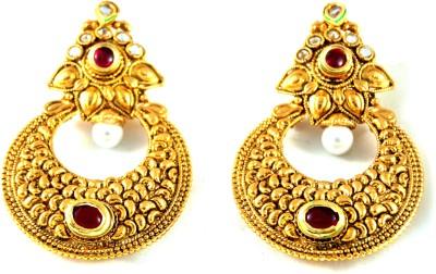 Grandiose Solid Gold Antique Alloy Chandbali Earring