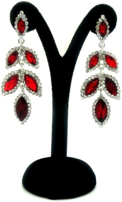 London Jewels Leafy Red Alloy Drop Earring