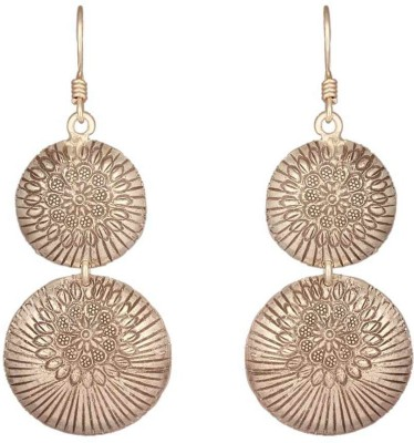 Mirror White Ancient Disc Drops Silver, Metal Dangle Earring