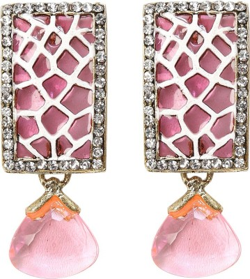 99HomeMart Pink Sparkle Cubic Zirconia Metal Drop Earring