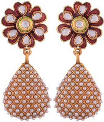 Grandiose Plated Pearl and red meenakari flower Copper Jhumki Earring
