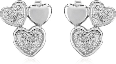 Om Jewells Trio Tumble Heart Cubic Zirconia Sterling Silver Stud Earring