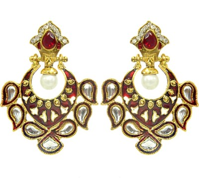 Peora Red Kundan Meena Alloy Chandbali Earring