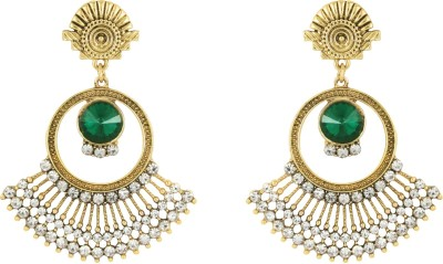 Donna Green Round Crystal Metal Chandelier Earring