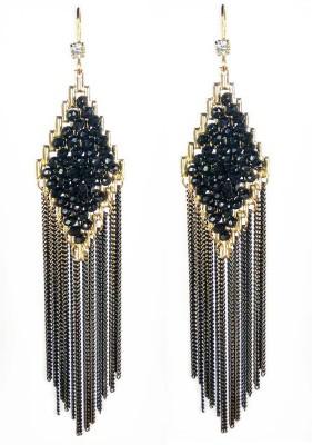 000 Fashions Stylish Black Tassel Earrings Crystal Alloy Dangle Earring